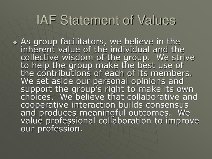 IAF Statement of Values