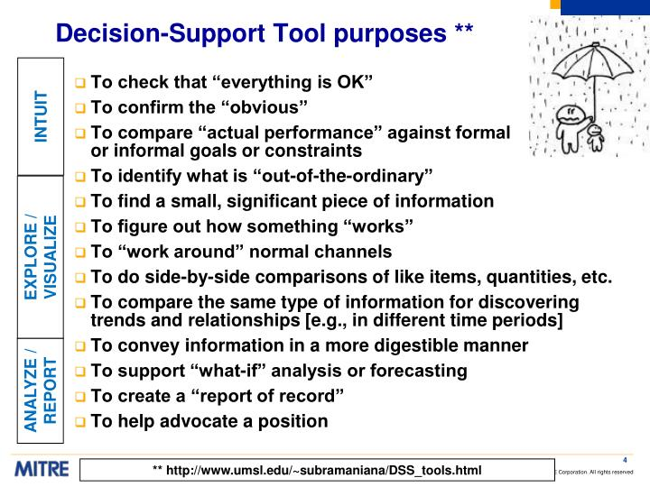 Decision-Support Tool purposes **