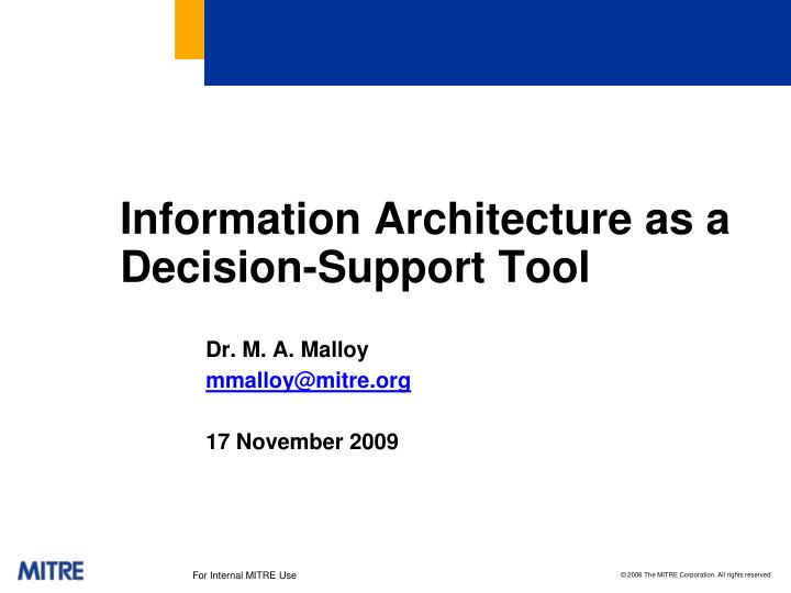 Information Architecture as a Decision-Support Tool