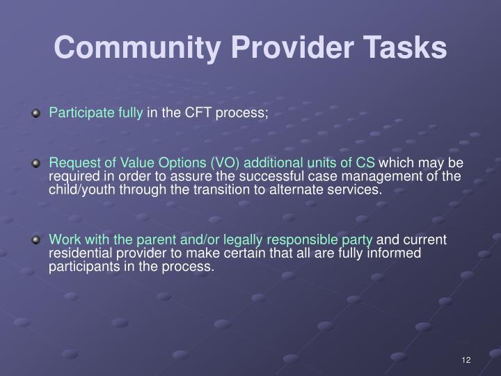 Community Provider Tasks