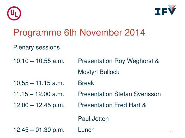 Programme 6th November 2014