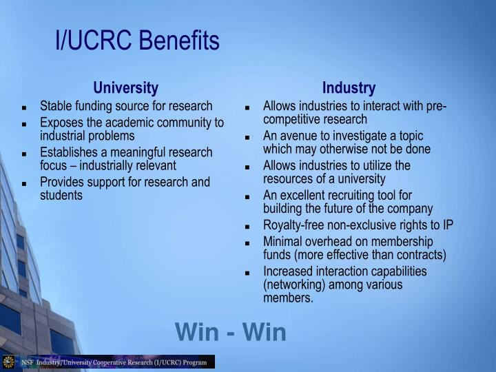 I/UCRC Benefits