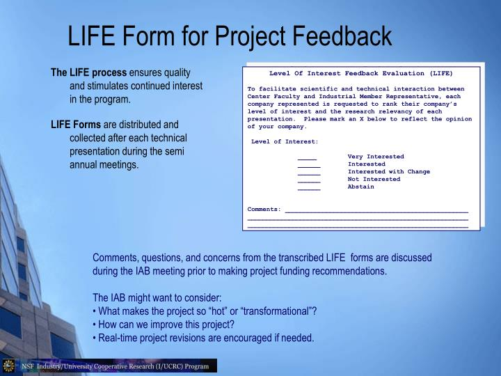 LIFE Form for Project Feedback