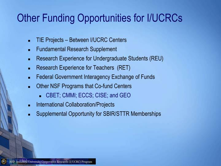 Other Funding Opportunities for I/UCRCs