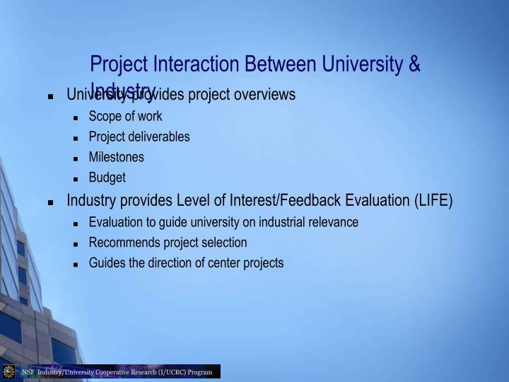 Project Interaction Between University & Industry