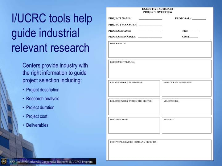 I/UCRC tools help guide industrial relevant research