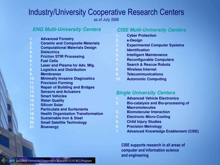 Industry/University Cooperative Research Centers