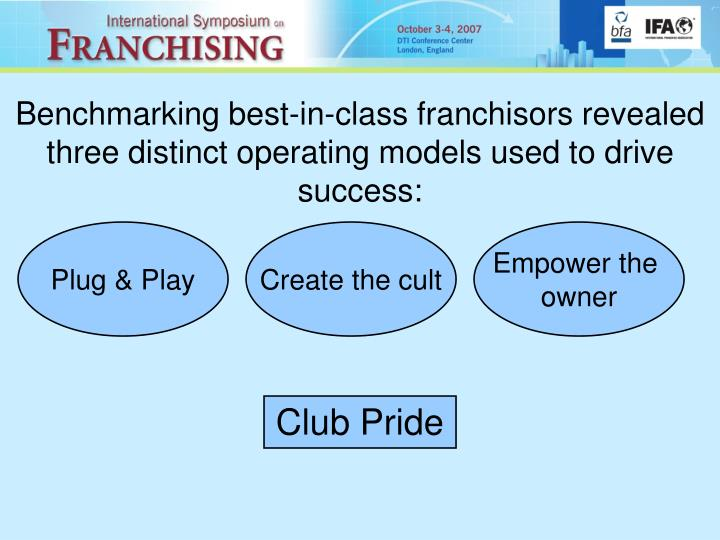 Benchmarking best-in-class franchisors revealed three distinct operating models used to drive success: