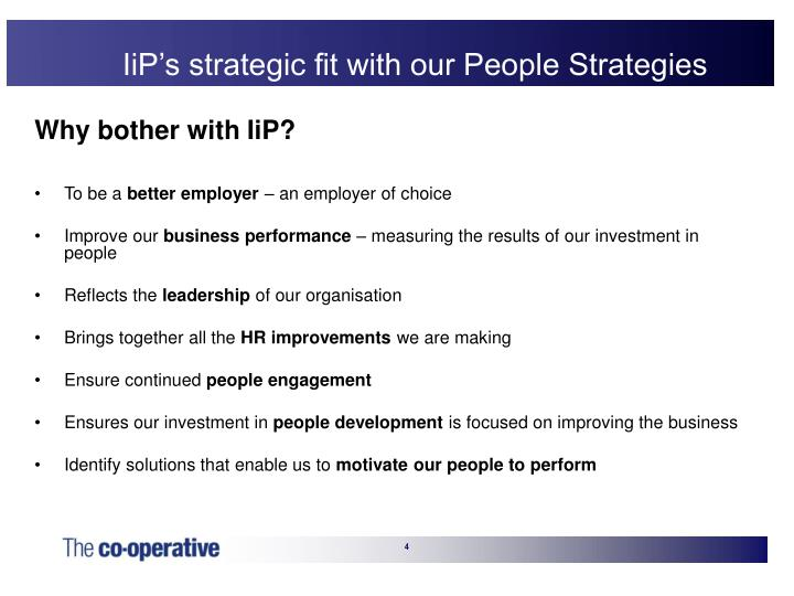 IiP's strategic fit with our People Strategies