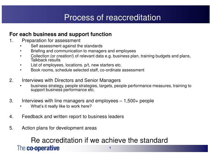 Process of reaccreditation
