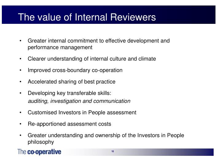 The value of Internal Reviewers