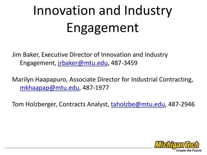 Innovation and Industry Engagement