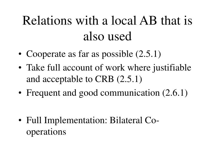 Relations with a local AB that is also used