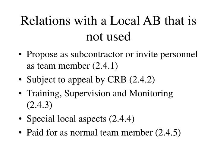 Relations with a Local AB that is not used