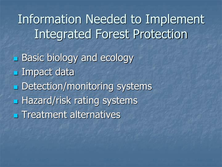 Information Needed to Implement Integrated Forest Protection