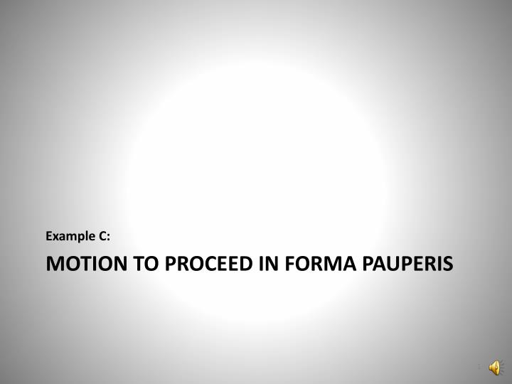 Motion to proceed in forma pauperis