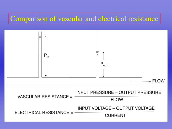 Comparison of vascular and electrical resistance