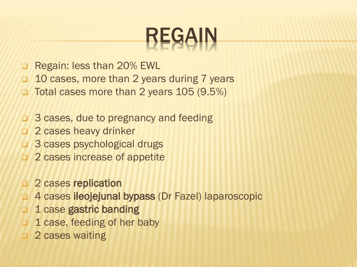Regain: less than 20% EWL