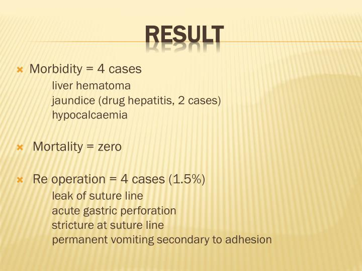 Morbidity = 4 cases