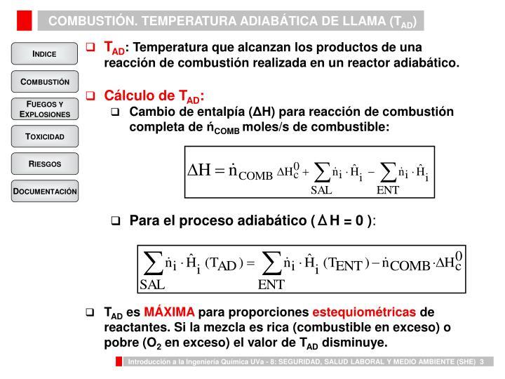 COMBUSTIÓN. TEMPERATURA ADIABÁTICA DE LLAMA (T