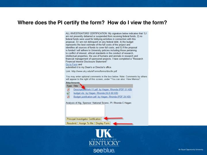 Where does the PI certify the form?