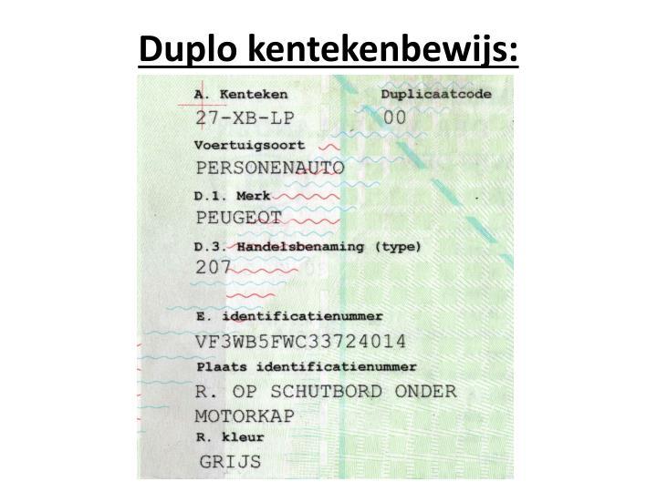Duplo kentekenbewijs: