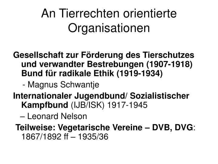 An Tierrechten orientierte Organisationen