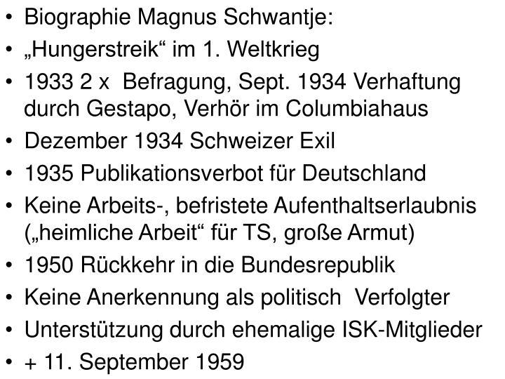 Biographie Magnus Schwantje: