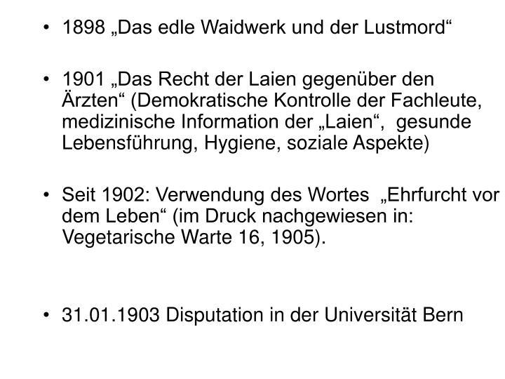 """1898 """"Das edle Waidwerk und der Lustmord"""""""