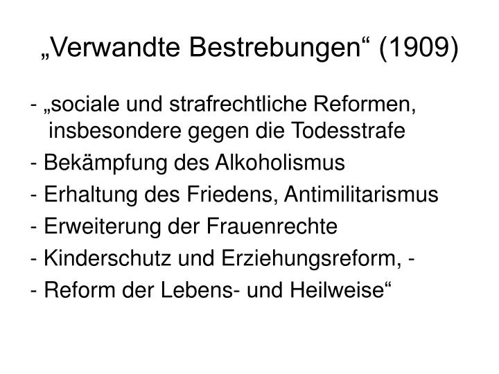 """Verwandte Bestrebungen"" (1909)"