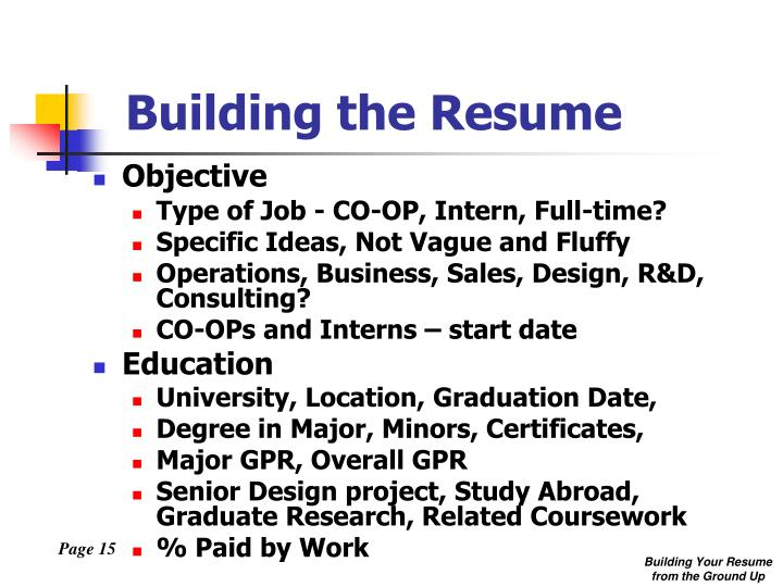 Building the Resume