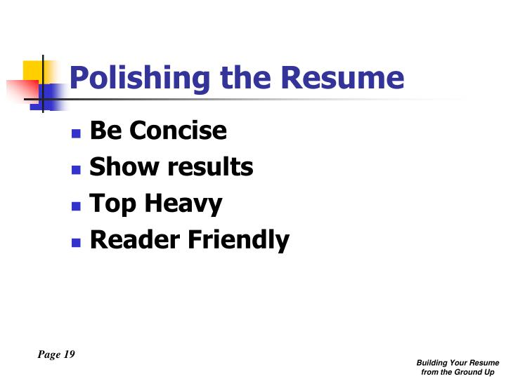 Polishing the Resume