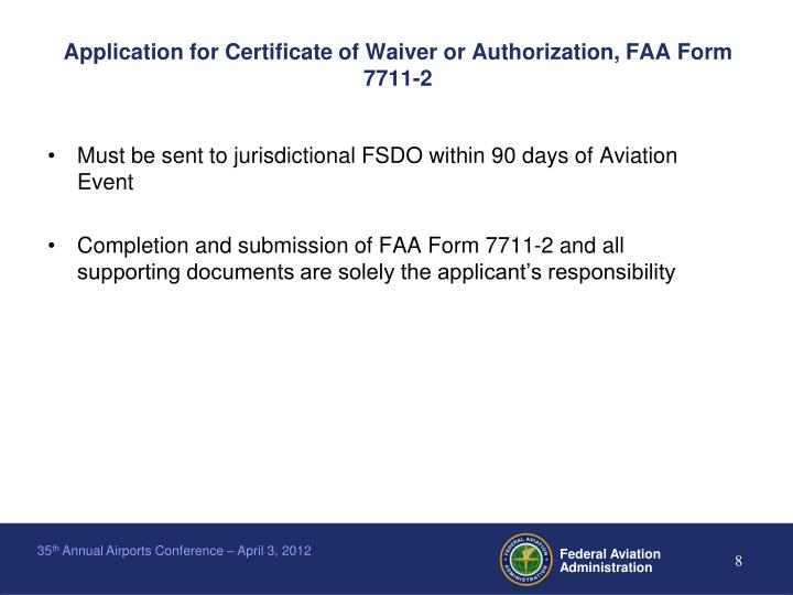 Application for Certificate of Waiver or Authorization, FAA Form 7711-2