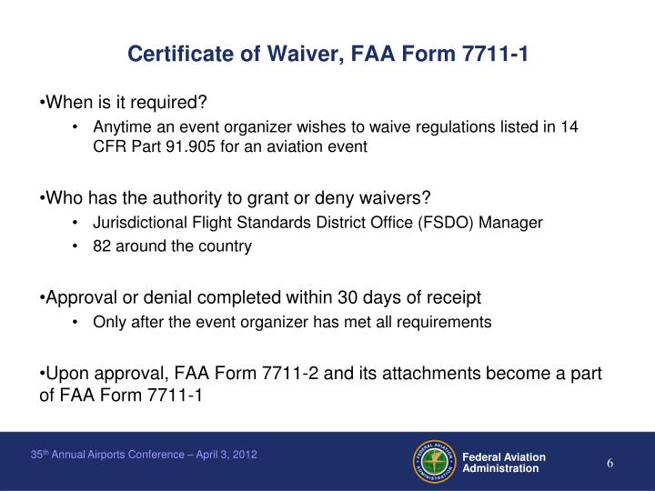 Certificate of Waiver, FAA Form 7711-1
