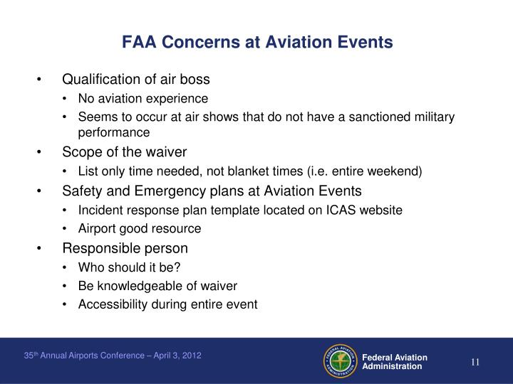 FAA Concerns at Aviation Events