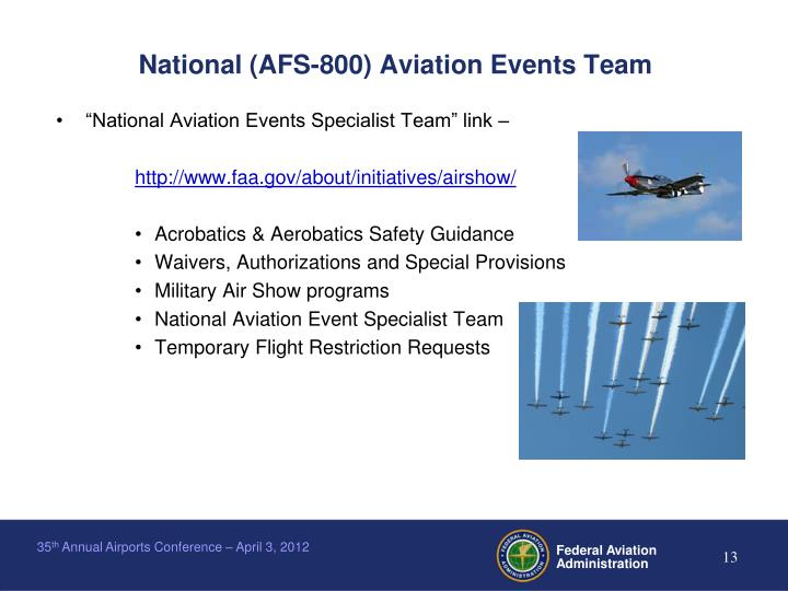 National (AFS-800) Aviation Events Team