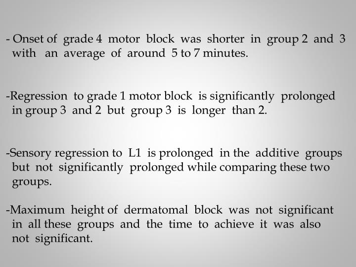 Onset of  grade 4  motor  block  was  shorter  in  group 2  and  3