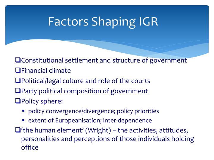 Factors Shaping IGR