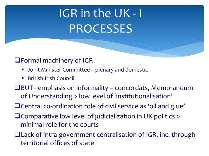 IGR in the UK - I