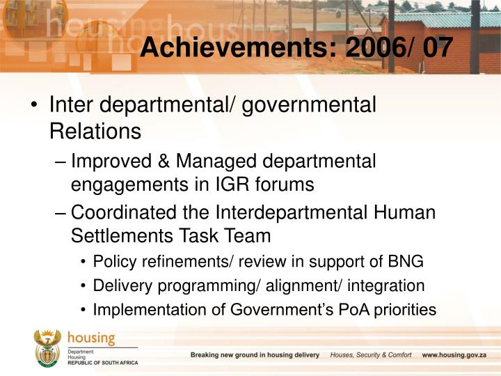 Achievements: 2006/ 07