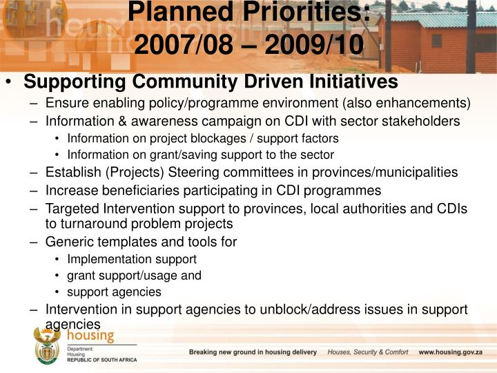 Planned Priorities: