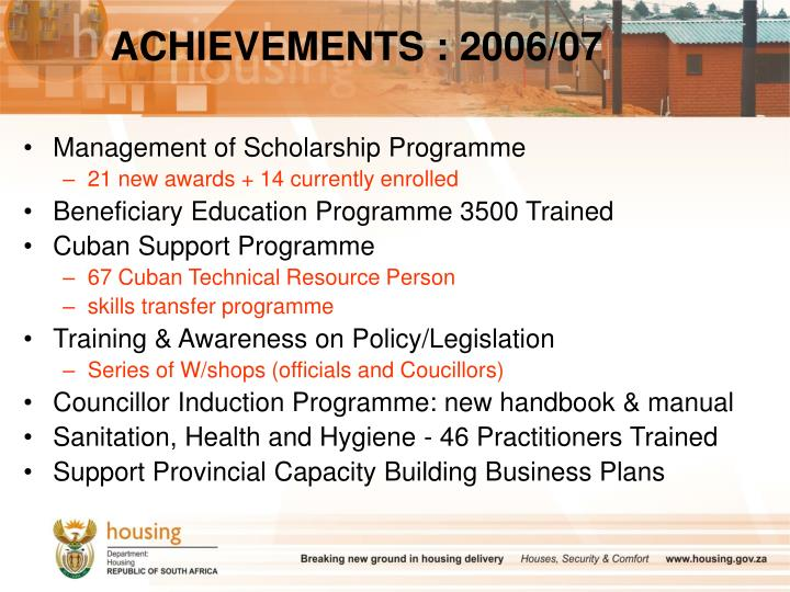 ACHIEVEMENTS : 2006/07