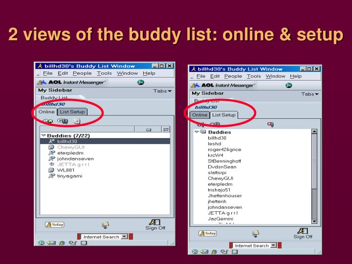2 views of the buddy list: online & setup