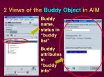 2 views of the buddy object in aim