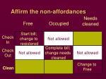 affirm the non affordances