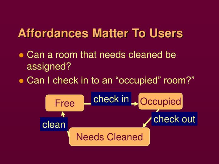 Affordances Matter To Users