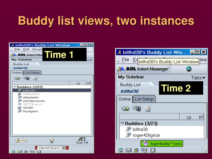 Buddy list views, two instances