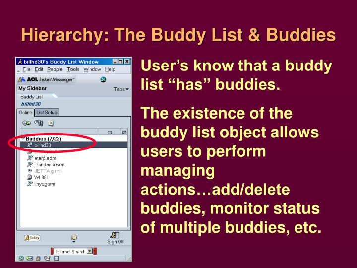 Hierarchy: The Buddy List & Buddies