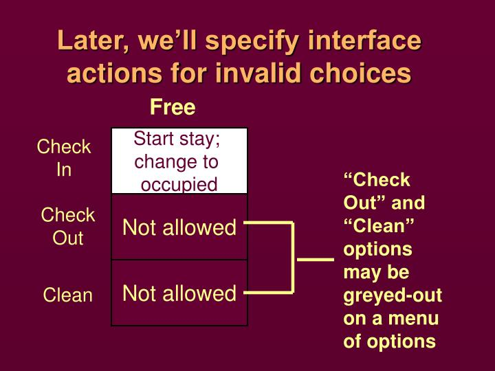Later, we'll specify interface actions for invalid choices