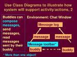 use class diagrams to illustrate how system will support activity actions 2